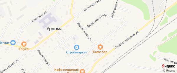 Задорожная улица на карте поселка Урдома Архангельской области с номерами домов