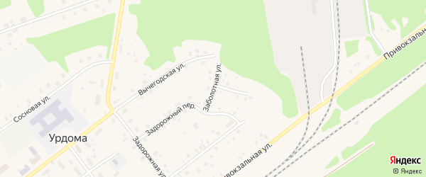 Заболотная улица на карте поселка Урдома Архангельской области с номерами домов