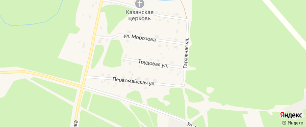 Трудовая улица на карте поселка Урдома Архангельской области с номерами домов