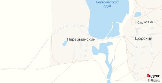 Карта хутора Первомайский в Саратовской области с улицами, домами и почтовыми отделениями со спутника онлайн