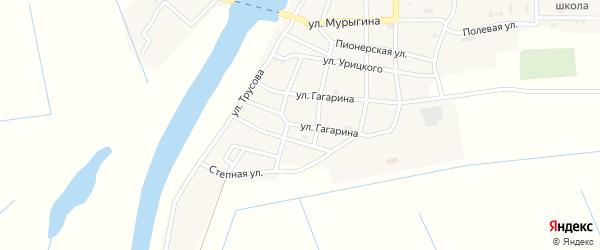 Улица Гагарина на карте села Тишково Астраханской области с номерами домов