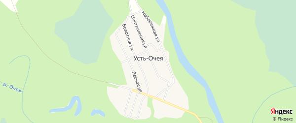 Карта поселка Усть-Очея в Архангельской области с улицами и номерами домов