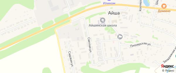 Светлая улица на карте села Айши Татарстана с номерами домов