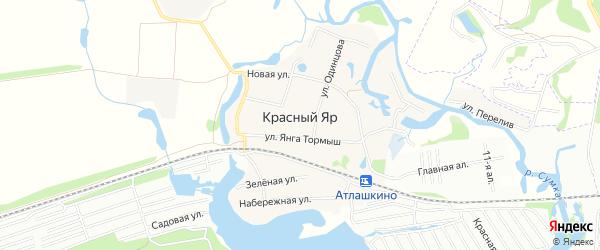 Карта деревни Красного Яра в Татарстане с улицами и номерами домов