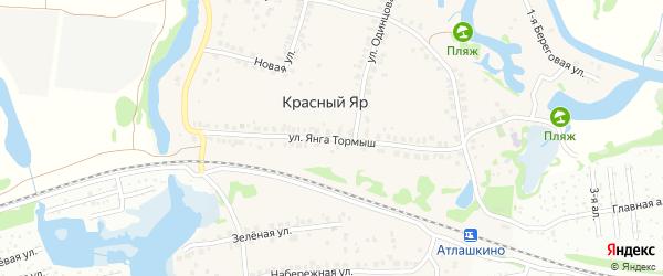 Улица Янга Тормыш на карте деревни Красного Яра Татарстана с номерами домов