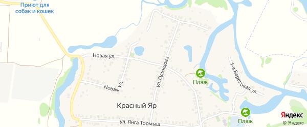 Школьная улица на карте деревни Красного Яра Татарстана с номерами домов