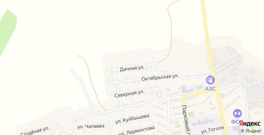Дачная улица в Октябрьске с номерами домов на карте. Спутник и схема онлайн
