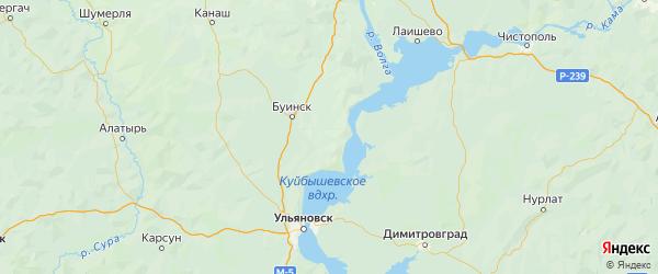 Карта Тетюшского района Республики Татарстана с городами и населенными пунктами