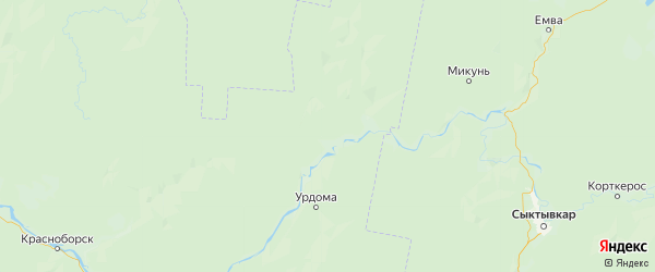 Карта Ленского района Архангельской области с городами и населенными пунктами
