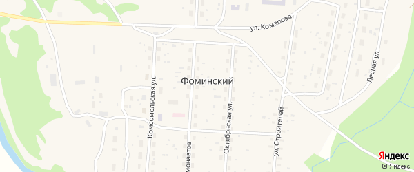 Улица Ломоносова на карте Фоминского поселка Архангельской области с номерами домов