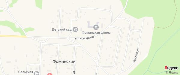 Улица Комарова на карте Фоминского поселка Архангельской области с номерами домов