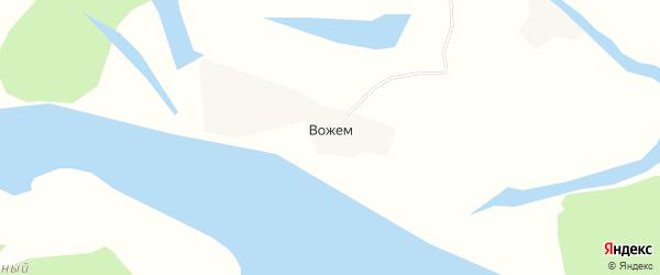 Карта деревни Вожема в Архангельской области с улицами и номерами домов