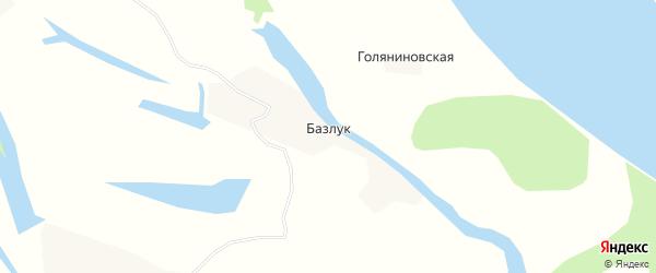 Карта деревни Базлука в Архангельской области с улицами и номерами домов