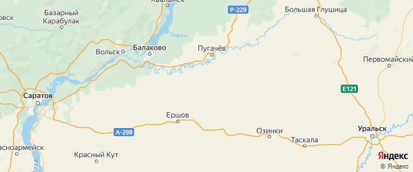 Карта Краснопартизанского района Саратовской области с городами и населенными пунктами