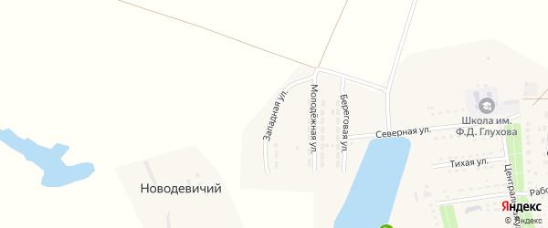 Западная улица на карте Основного поселка Саратовской области с номерами домов