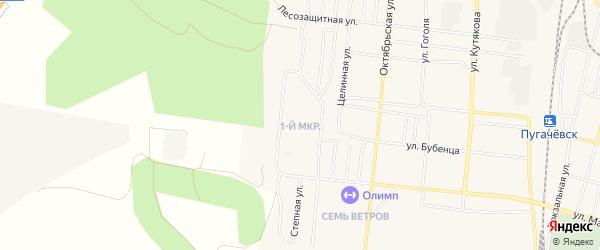 Первый микрорайон на карте Пугачева с номерами домов