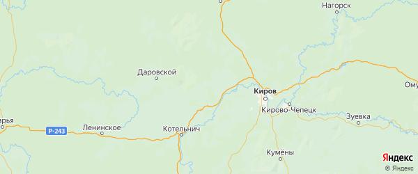 Карта Орловского района Кировской области с городами и населенными пунктами