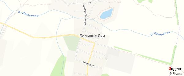 Карта села Большие Яки в Татарстане с улицами и номерами домов