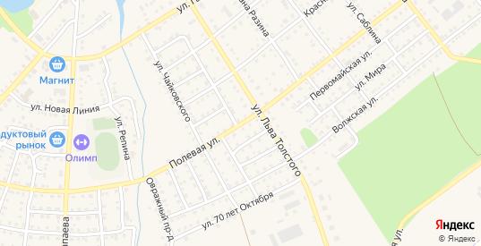 Полевая улица в Сенгилее с номерами домов на карте. Спутник и схема онлайн
