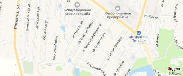 Улица Якимовой-Деминой на карте Тетюшей с номерами домов