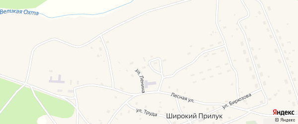 Улица Ленина на карте поселка Широкия Прилука Архангельской области с номерами домов