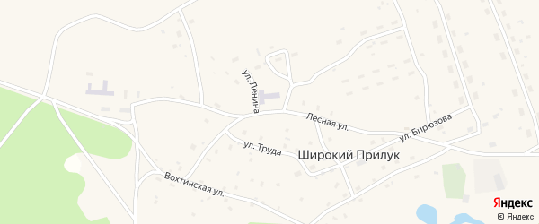 Лесная улица на карте поселка Широкия Прилука Архангельской области с номерами домов