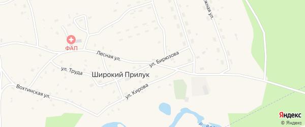 Улица Бирюзова на карте поселка Широкия Прилука Архангельской области с номерами домов