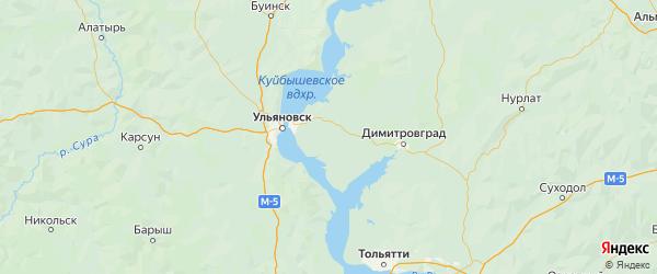 Карта Чердаклинского района Ульяновской области с городами и населенными пунктами