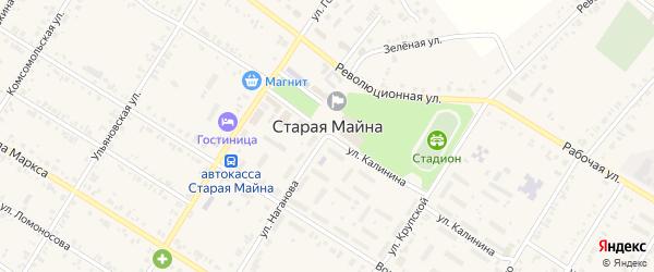 Волжский переулок на карте поселка Старой Майны Ульяновской области с номерами домов