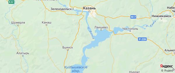 Карта Камско-устьинского района Республики Татарстана с городами и населенными пунктами