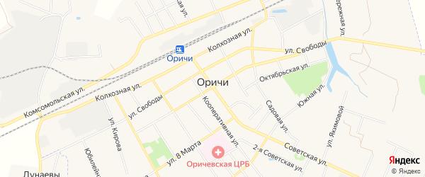 Карта поселка Оричи в Кировской области с улицами и номерами домов