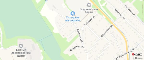 Переулок Бориса Торкова на карте села Яренска Архангельской области с номерами домов