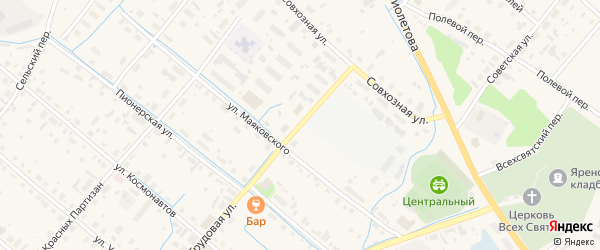 Трудовая улица на карте села Яренска Архангельской области с номерами домов