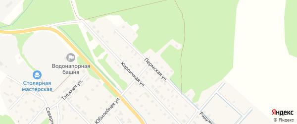 Пермская улица на карте села Яренска Архангельской области с номерами домов