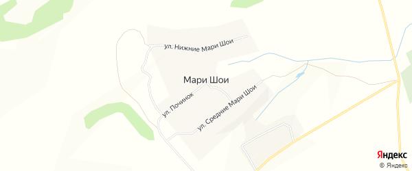 Карта деревни Мари Шои в Марий Эл с улицами и номерами домов