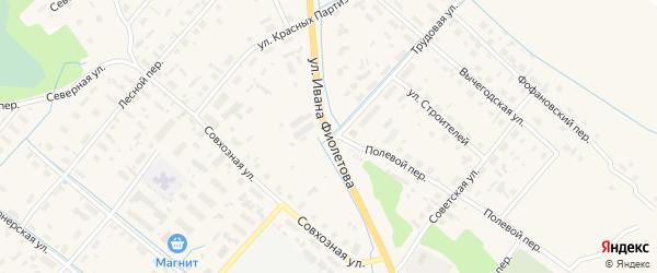 Улица Ивана Фиолетова на карте села Яренска Архангельской области с номерами домов