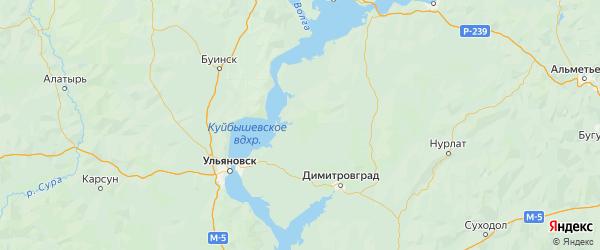 Карта Старомайнского района Ульяновской области с городами и населенными пунктами