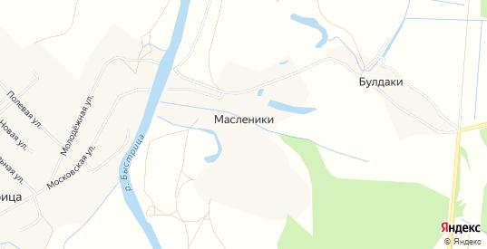 Карта деревни Масленики в Кирове с улицами, домами и почтовыми отделениями со спутника онлайн