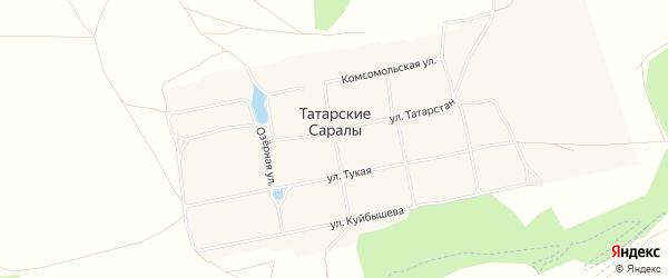 Карта села Татарские Саралы в Татарстане с улицами и номерами домов