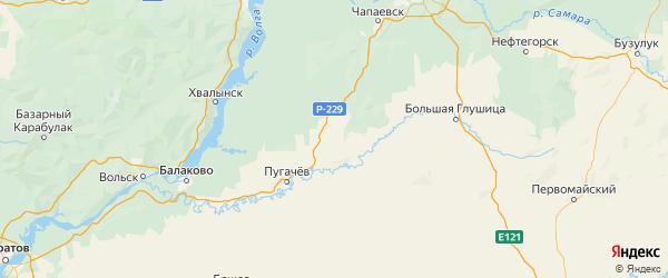 Карта Ивантеевского района Саратовской области с городами и населенными пунктами