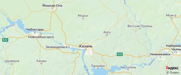 Карта Высокогорского района Республики Татарстана с городами и населенными пунктами