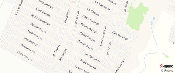 Лазурная улица на карте деревни Куюк Татарстана с номерами домов