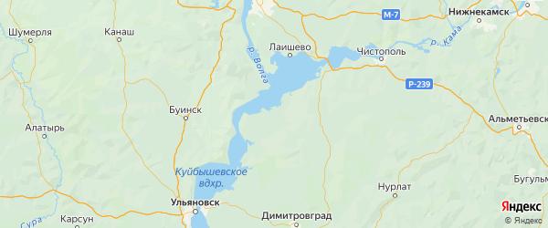 Карта Спасского района Республики Татарстана с городами и населенными пунктами