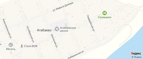 Водопроводная улица на карте села Атабаево Татарстана с номерами домов