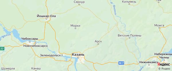 Карта Атнинского района Республики Татарстана с городами и населенными пунктами