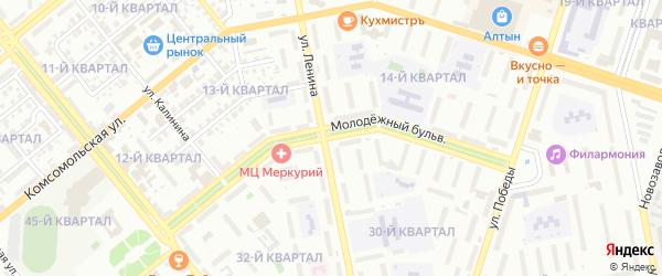 Молодежный бульвар на карте Тольятти с номерами домов