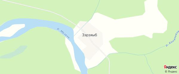 Карта деревни Зэрзяыба в Коми с улицами и номерами домов