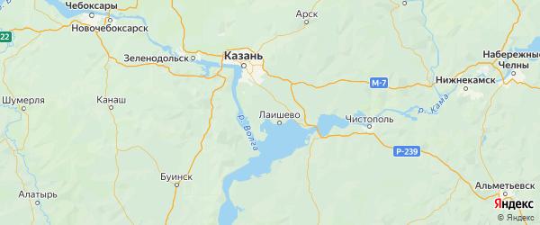 Карта Лаишевского района Республики Татарстана с городами и населенными пунктами