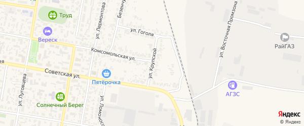 Улица Крупской на карте поселка Безенчука Самарской области с номерами домов