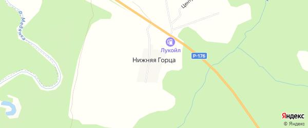 Карта деревни Нижняя Горца в Кировской области с улицами и номерами домов
